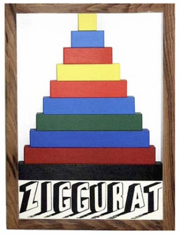 Joe Tilson RA Ziggurat Carved Wood Multiple 30x41cm