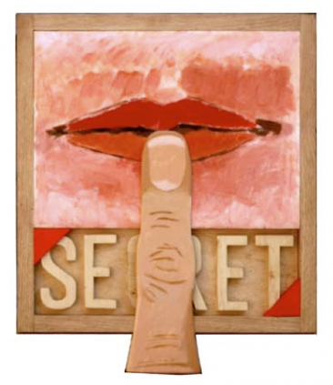 Joe Tilson RA Secret Carved Wood Multiple 38x36cm